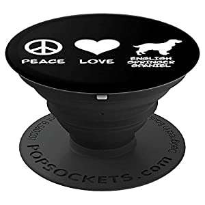 Peace, Love, English Springer Spaniel PopSockets Grip and Stand for Phones and Tablets 1