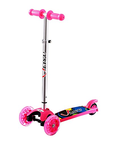 LIYU Toddler Kids Kick Scooter Mini 3 Wheels Portable Adjustable Push Scooter with LED Flashing Light Birthday Christmas Gifts for Boys Girls Children 2-8 Years Old (Pink)