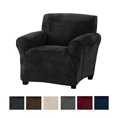 Modern Velvet Plush Arm Chair Slipcover. Strapless Chair Cover, Stretch Slipcover for Arm Chairs, Soft Chair Cover for Living Room. (Chair, Dark Grey) (Pottery Style Chair Barn)
