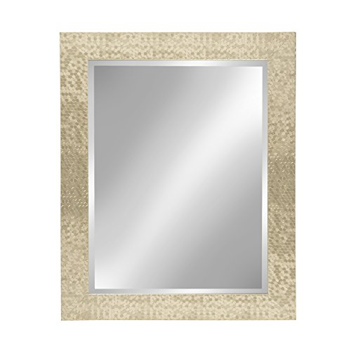 Kate and Laurel Coolidge Framed Wall Vanity Beveled Mirror, 23x29, Champagne -