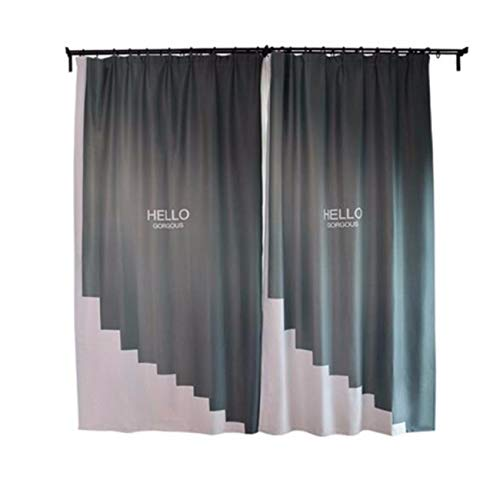 Nordic Modern Style English Letters Gray Ink Green Living Room Bay Window Blackout Curtain Fabric, 66 inches (Width)  90 inches (Height), 167cm (Width)  230cm (Height), 2 Sets