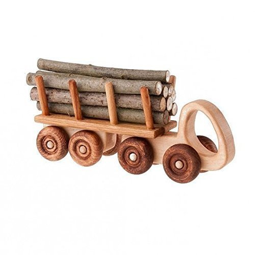 Handmade Wood Toy Log Truck Wooden Toys Eco Friendly Green Childs Boys Kids Childrens Birthday Gift Present