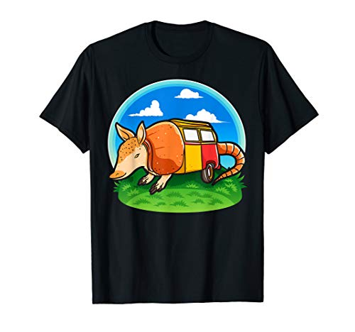 Funny Armadillo Holiday Camper Trailer Camping T Shirt]()