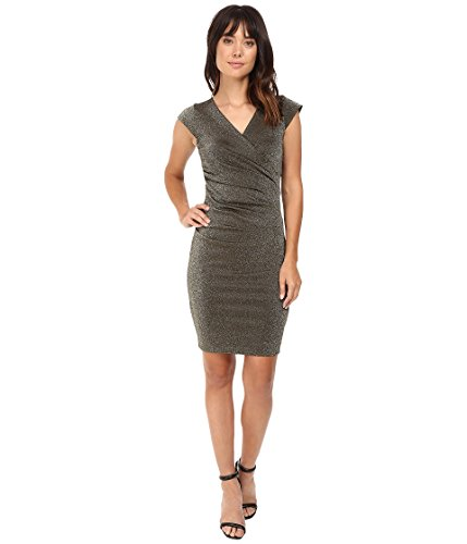 Nicole Miller Women's Lurex Ponte Side Tuck Dress, Gold/Go, Petite