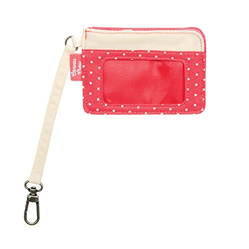 Thirty One Canvas Crew Coin Purse in Natural with Coral Swiss Dot - 4855