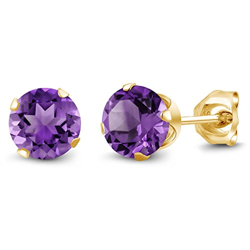 (Gem Stone King 0.90 Ct Round Shape Purple Amethyst Yellow Gold Plated Silver Stud Earrings)