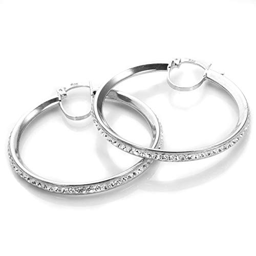 925 Real Sterling Silver 33mm Pave Crystal Hoops