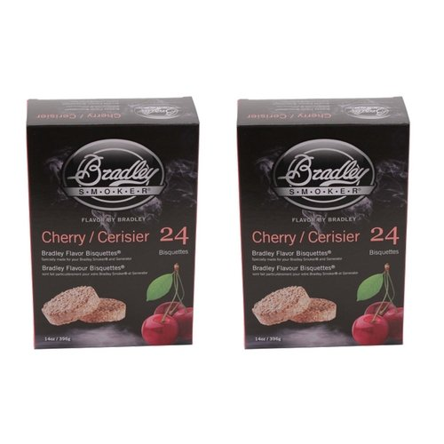 Bradley Smokers 106690 Cherry Bisquettes Smoker, 24-Pack (2 (Flavored Smoker Bisquettes)