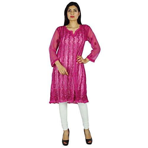 Diseñador indio Chikan bordado Kurta Mujeres Kurti informal regalo Vestido Georgette Para Ella Magenta