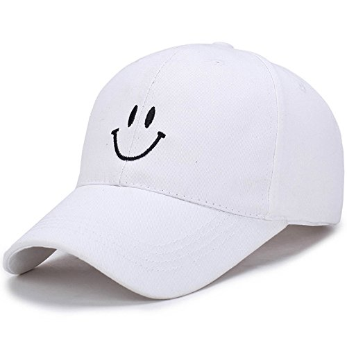 FUNY Cotton Smile Face Embroidery Snapback Couple Hat Adjuatable Baseball Cap (White) by FUNY