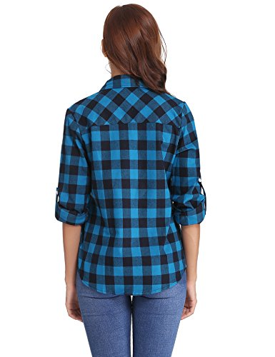 Boyfriend A Primavera Autunno Per Classici Abollria Quadri Camicia Maniche Flanella Stile Lunghe Blu Di Casual Bluse nero Inverno Donna 1I1x4qSwW7