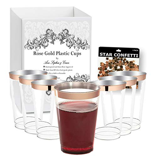Rose Gold Rim Plastic Cups by Ava Sophia & Grace. 12 oz. [100 Pack]. Elegant Tumblers For Your Wedding, Baby or Bridal Shower, Birthday or any other Special Occasion. Includes Bonus Foil Confetti. ()
