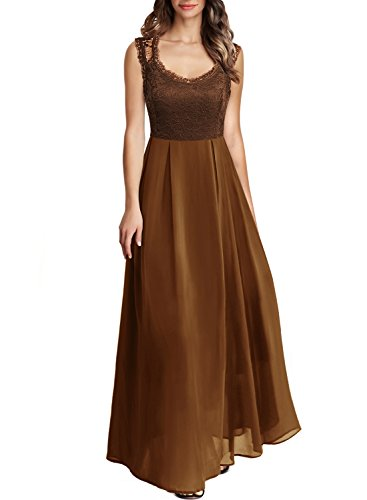 Arolina Women's Formal Long Floral Lace Vintage Wedding Evening Party Dresses (Large, Brown)