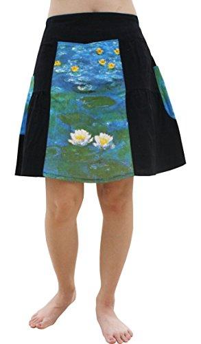 RaanPahMuang Panel Pleated Skirt - Water Lilies Fine Art by Claude Monet, Medium