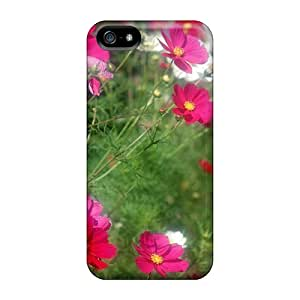 Awesome Red White Flowers Flip Case With Fashion Design For Iphone 5/5s