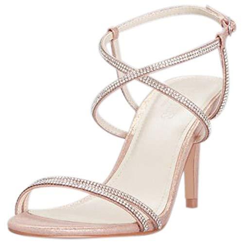 (David's Bridal Skinny-Strap Crisscross Glitter Heels Style LYLA, Rose Gold, 6.5)