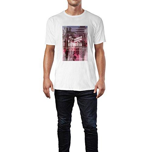 SINUS ART® Summer Adventure – Best Vacation Herren T-Shirts in Weiss Fun Shirt mit tollen Aufdruck