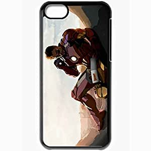 Personalized iPhone 5C Cell phone Case/Cover Skin Art Robert Downey Jr Airon Man Wallpaper Tony Stark Black