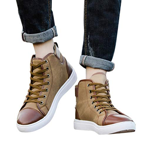 HTHJSCO Women Men's High Top Vintage Sneaker, Lace-up Ankle Boots Shoes Casual High Top Canvas Shoes (8.5, Khkai)