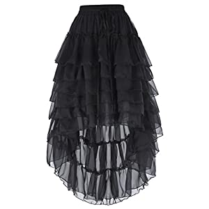 Belle Poque Women's Lace Steampunk Gothic Ruffled Skirt Pirate Style with Draw String BP227