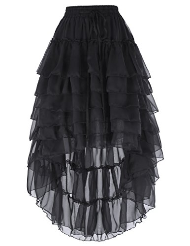 Belle Poque Women's Lace Steampunk Gothic Ruffled Skirt Pirate Style with Draw String BP227 Black