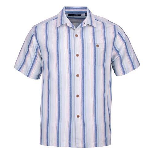 Stretch Silk Shirt - Blank&Black Men's Woven Short-Sleeved Shirt, Blue Stripes M