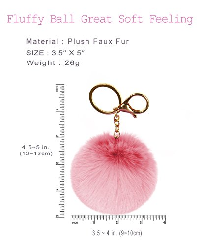 RufnTop 6 PCS PomPom KeyChain Gold Ring Car Key Ring or Handbag Accessories(6 PCS REGULAR MIX) by RufnTop (Image #4)