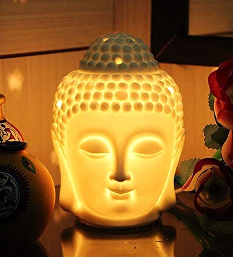 Electric Ceramic Buddha Head Shape Essential Oil Diffuser Burner