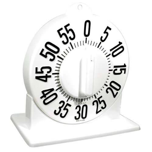 Tactile Short Ring Low Vision Timer with Stand - White Dial ()