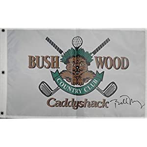 Bill Murray Hand Signed Autographed Bush Wood Caddyshack Flag PSA V02244