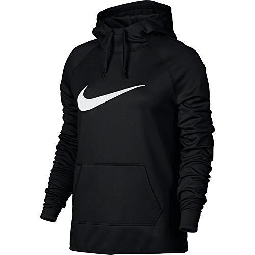 Nike Women's Therma Veneer 2 Pullover Hoodie (X-Large, Black/White)