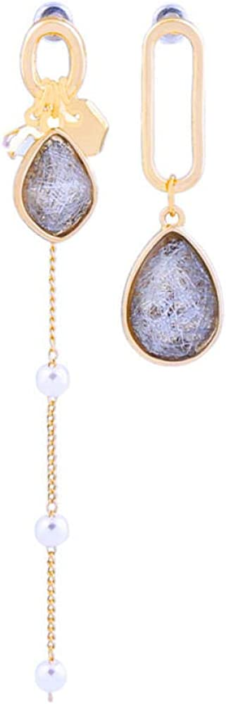 S925 plata aguja asimétrica pendientes colgantes de perlas piedras preciosas artificiales gota de agua