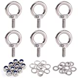 Glarks 36Pcs 304 Stainless Steel M5 Male Thread Machinery Shoulder Lifting Ring Eye Bolt with Lock Nuts/Lock Washers/Flat Washers Set