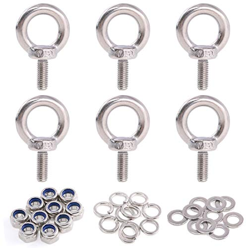 Glarks 36Pcs 304 Stainless Steel M5 Male Thread Machinery Shoulder Lifting Ring Eye Bolt with Lock Nuts/Lock Washers/Flat Washers Set (Forged Eye Bolt With Shoulder)