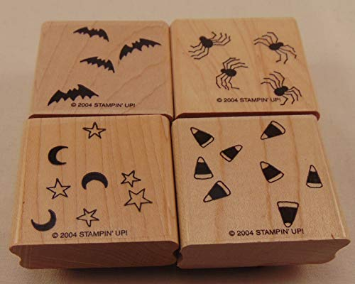 Stampin' Up! Halloween Backgrounds Stamp Set 2004 Bats, Candy Corn, Spiders, Stars and Moons -