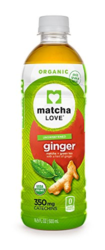 Matcha Love Organic Matcha and Green Tea, Ginger, 16.9 Ounce (Pack of 12), USDA Certified Organic, Unsweetened, Zero Calories, Antioxidant Rich, No Artificial Preservatives (Zero Gold Leaf)