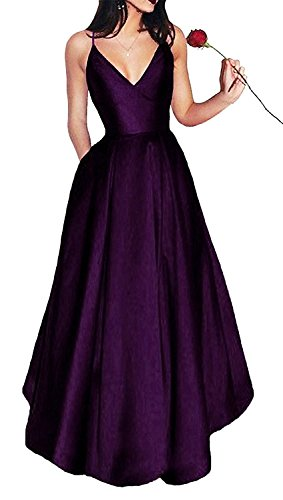 - PearlBridal Women's A Line Simple Spaghetti Straps Long Prom Dresses Satin V Neck Formal Evening Gowns with Pockets Grape Size 14