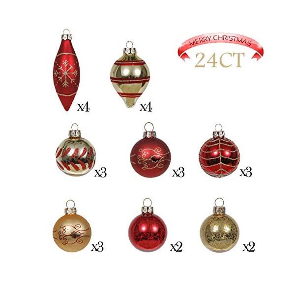 Valery Madelyn Palle di Natale Vetro Addobbi Natalizi Set, 24 Pezzi 6-10.5cm Luxury Red And Gold Palline di Natale Decoration for Addobbi Natalizi per Albero 3 spesavip