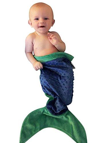 Baby Merman Costume (Baby BooBear Mermaid Tail, Green & Blue, Warm Halloween Costume, Minky Dot Swaddle Blanket Newborns, Infants, Young Girls & Boys Toddlers)