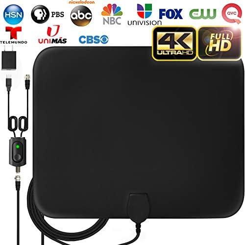 [해외][LATEST 2019] Amplified HD Digital TV Antenna Long 120 Miles Range - Support 4K 1080p Fire tv Stick and All Older TV`s Indoor Powerful HDTV Amplifier Signal Booster - 18ft Coax CableAC Adapter / [LATEST 2019] Amplified HD Digital T...
