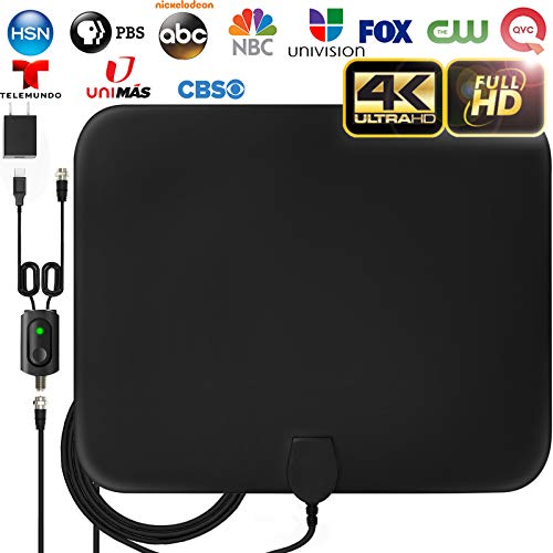 [LATEST 2019] Amplified HD Digital TV Antenna Long 120 Miles Range - Support 4K 1080p Fire tv Stick and All Older TV's Indoor Powerful HDTV Amplifier Signal Booster - 18ft Coax Cable/AC Adapter (Best Indoor Hd Antenna 2019)
