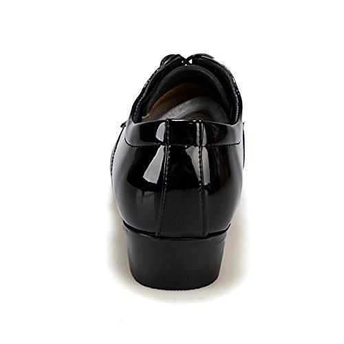 Nueva Inglaterra señaló los zapatos de invierno zapatos casuales zapatos de la boda del cuero de patente de los hombres respirables de Trajes de negocios Black