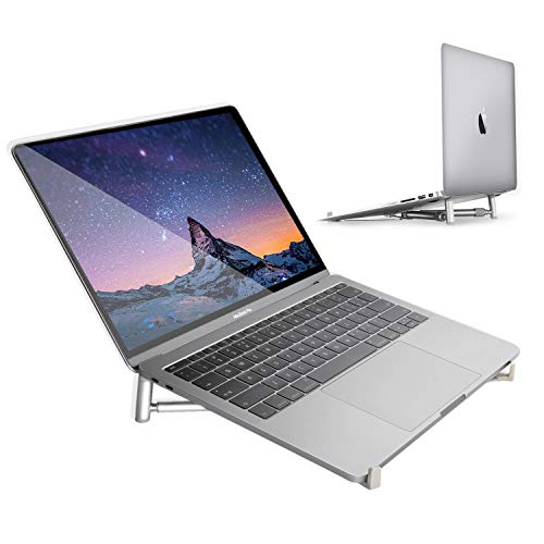 INNOMAX Aluminum Laptop X-Stand,Universal Portable Cooling Stand, Foldable Notebook Holder, Adjustable Laptop Stand/Riser for Apple MacBook Pro, Air, Dell XPS, HP, Samsung, Lenovo More 11″~17″-Silver