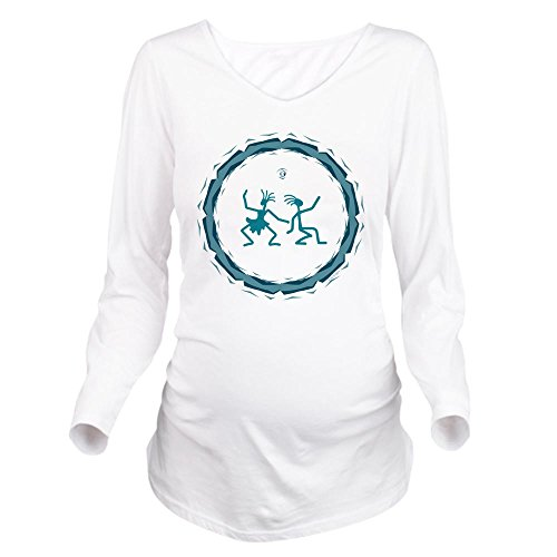 (Truly Teague Long Sleeve Maternity T-Shirt Primitive Dancing Duo Teal - White, Large)