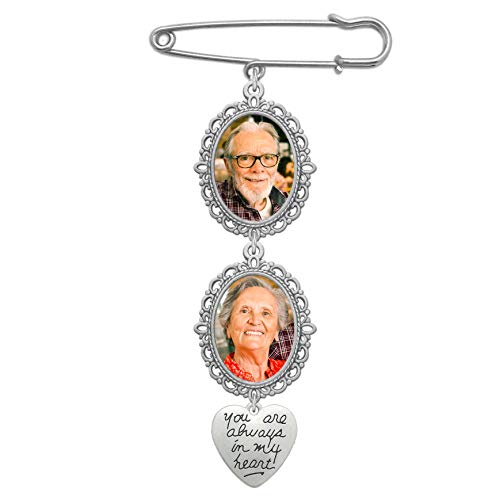 Wedding Bouquet Photo Charm Double Lacy Oval Frame Bridal Charm Walk Down The Aisle You are Always in My Heart Easy to Make Parents Grandparents ()