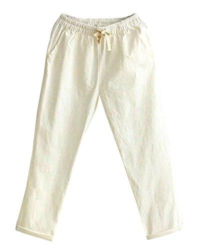 Da Casual Di In Casuale Lino Bianco Donna Vita Tinta Alta Elasticizzato ShiFan Unita Pantaloni Pants Cotone IdvIRw