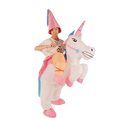 Ybriefbag Inflatable Blow up Unicorn Costumes Halloween Cosplay Costumes Suit for Audlts Kids -