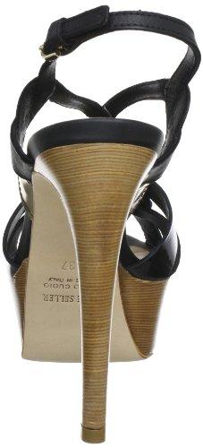 The Seller S1473 - Sandalias de cuero para mujer Negro (Schwarz (Nero))