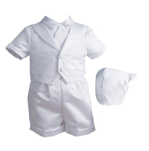 Lauren Madison baby boy Christening Baptism Infant Vestie Set With Short, White, 0-3 Months