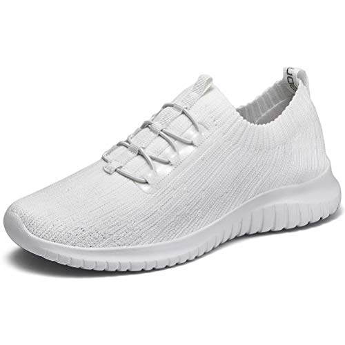LANCROP Athletic Walking Shoes - Casual Mesh Lightweight Running Slip On Sneakers 6 M US White